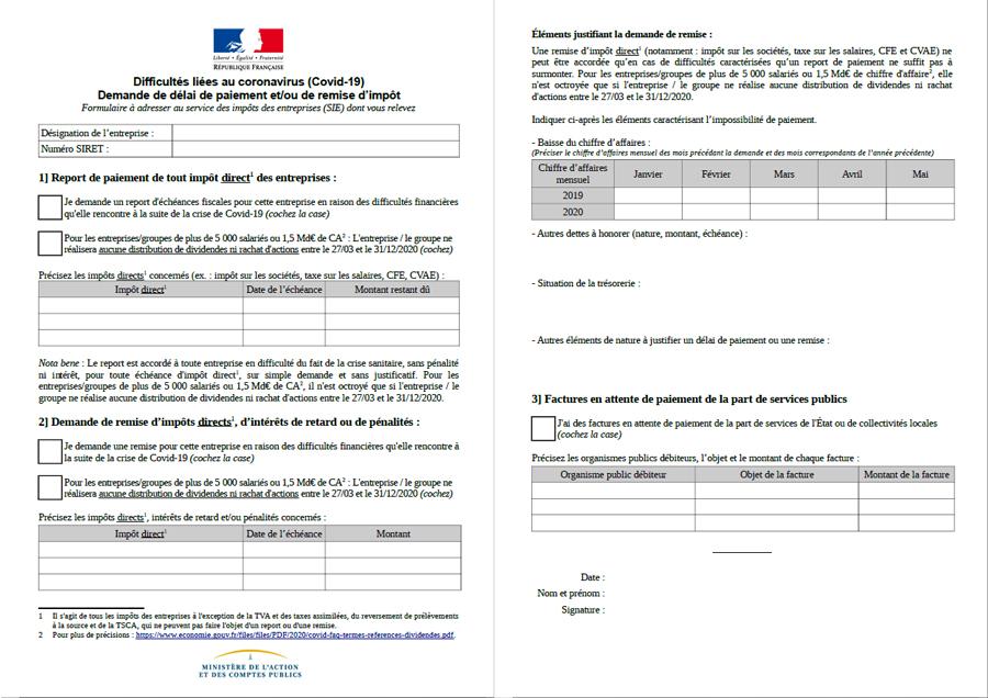 Formulaire de demande de délai de paiement, intégré dans ISACOMPTA